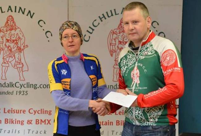 Ciara Kinch presented with the third place prize at the Traders Cup last Sunday. Photo: Damien Faulkener