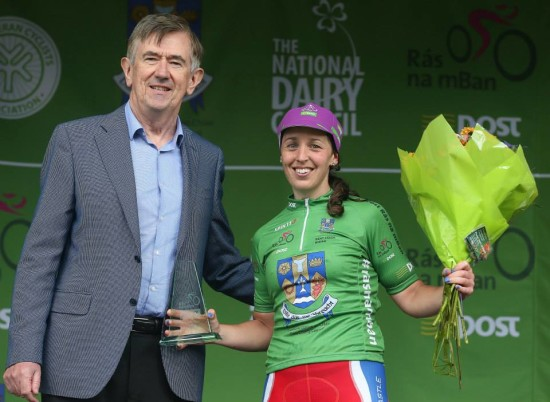 Donal Connell of An Post presents Fiona Meade with Best Irish Rider trophy last year