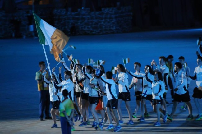 The Irish Team at the EYO Games 2015 opening ceremony