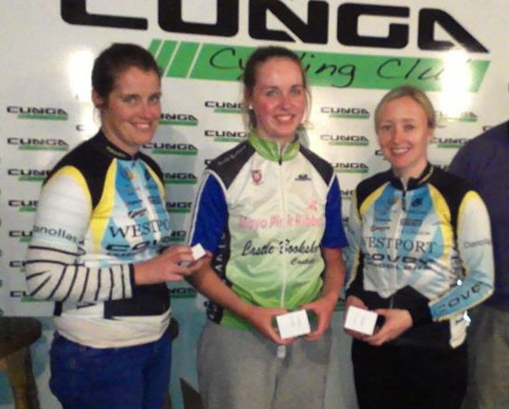 Lauren Gourlay -centre- in the colours of her club, as she is awarded Mayo County Champ title in 2014