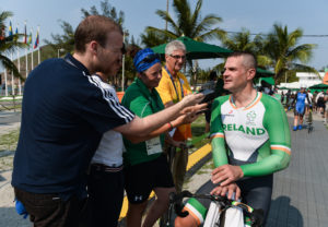 14 September 2016; Colin Lynch of Ireland speaks to reporters after he won a silver medal in the Men's Time Trial C2 at the Pontal Cycling Road during the Rio 2016 Paralympic Games in Rio de Janeiro, Brazil. Photo by Diarmuid Greene/Sportsfile *** NO REPRODUCTION FEE ***